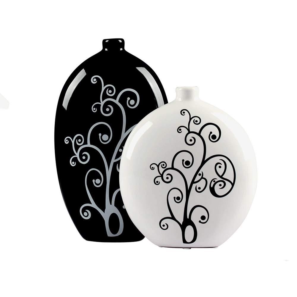 花瓶、シンプルでモダンな家の装飾、リビングルームのワインラックの装飾、黒と白のオプションのクリエイティブセラミックフラワー花瓶の装飾 B07RM4NVRV