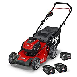 Snapper XD SXDWM82K 82V Cordless 21-Inch Walk Mower Kit 49 Up to 45 minutes run time with the Briggs & Stratton 82V Lithium ion 2.0Ah Battery   kit comes with (2) 2Ah Lithium ion batteries and rapid charger 19 inches Steel mowing deck with 3 in 1 design   mulch, bag or side discharge grass clippings easily Smart, efficient load sensing technology   power adjusts to meet the demands of the cutting blades