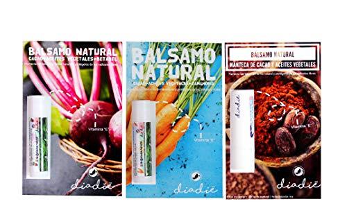 Balsamo natural. Sin químicos. Kit 3 piezas: cacao, zanahoria y betabel