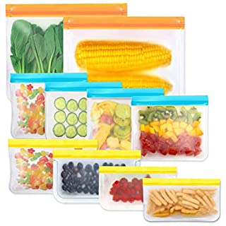 Reusable Storage Bags,BPA Free PEVA Resuable Freezer Bags,Reusable Gallon Bags, Reusable Sandwish Bags, Silicone Food Bags for Women, Men and Kids (10Pack- 2Gallon Bags +4Sandwich Bags + 4Snack Bags)