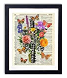 Rib Cage With Flowers, Butterflies & Caterpillar Upcycled Vintage Dictionary Art Print 8x10