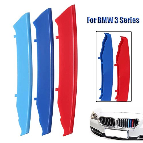 Bmw Colors 2005 (KingFurt FOR BMW M Colors Grille Insert Trims Decorate For 2003-2008 E90/E91 Pre-LCI 3 Series 12-Beam Grill (red blue light blue))