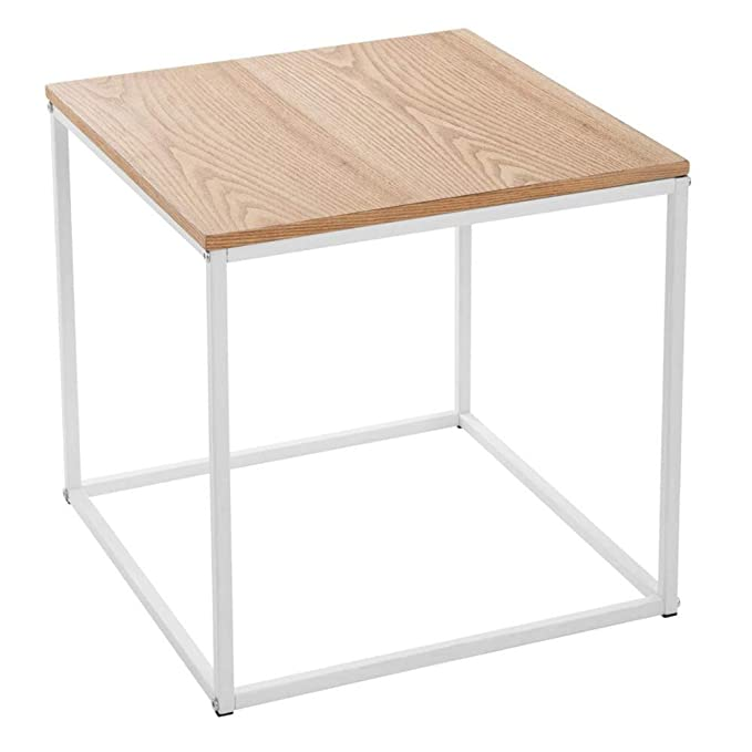 Mesa Auxiliar con superficie efecto madera – Estilo moderno y zen – Color Blanco y Madera natural