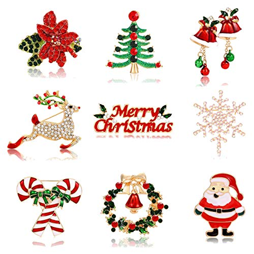 ANGLESJELL 9PC Christmas Brooches Snowflake Reindeer Tree Pins Gift for Women Girls