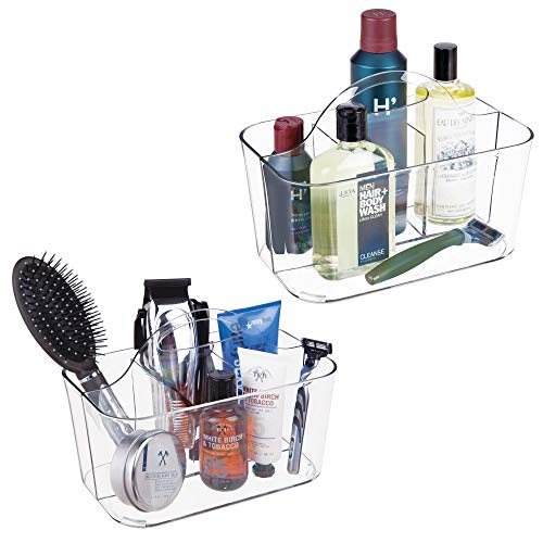 mDesign Plastic Mens Grooming Storage Organizer Caddy Tote - Divided Basket Bin, Handle for Bathroom - Holds Shaving Cream, Razors, Beard Oil, Combs, Brushes, Hair Gel, Cologne, Small, 2 Pack - Clear