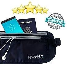 SevenBlu Premium RFID Travel Money Belt and Wallet Waist Pack - Anti-Theft - Hide Cash Under Clothes