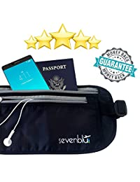 SevenBlu #1 RFID Travel Money Belt and Passport Holder ★ Fits Big Bills - Secret Hidden Waist Pack Bag - Perfect Undercover Wallet Pouch for Men & Women - Luggage / Travel Accessory