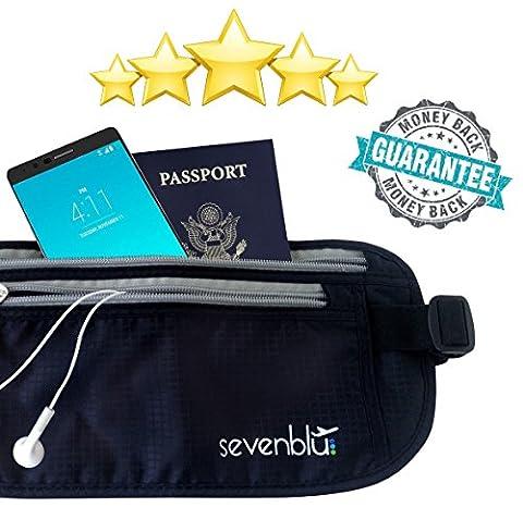 SevenBlu PREMIUM Travel Money Belt w ANTI THEFT RFID - Secret HIDDEN Waist Bag for Your CASH - Best Undercover Wallet Pouch for Men & Women - Luggage / Travel Accessory - Secure and (Blackberry Passport Clip)