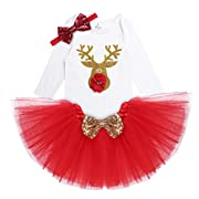 iEFiEL Baby Girls Christmas Baptism Picture Skirt Bodysuit Headband Leg Warmer Shoes Set (0-3 Months, Shiny Reindeer)