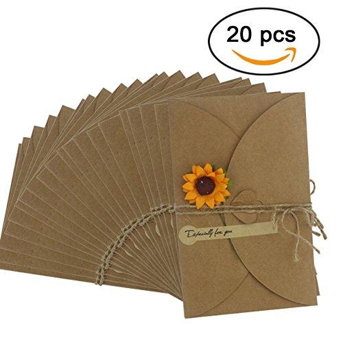Ogrmar Brown Kraft Paper Thank You Cards Thank U Greeting Card with Kraft Paper Envelopes for Wedding, Graduation 6.9