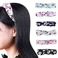 6 Pack Headbands Vintage Elastic Printed Head Wrap Stretchy Moisture Hairband Twisted Cute Hair Accessories for Teens Girls Women Adults, Assorted Colors (6 Pack)