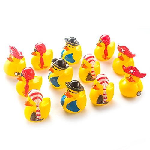 Fun Central AZ980 12 Pieces Assorted Mini Pirate Rubber Duck, Rubber Duck Pirate Themed Party Supplies, Pirate Rubber Ducky Bulk for Kids - Pirate Rubber Ducks