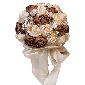 MerryJuly Wedding Flowers Bridal Bouquets Elegant Pearl Bride Bridesmaid Wedding Bouquet (Brown/Ivory) 61