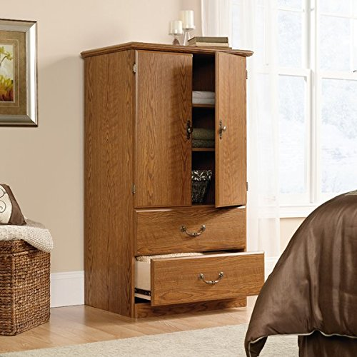Armoire with Two Adjustable Shelve Behind Doors Patented T-lock Drawer System Carolina Oak Finish Metal Drawer Runners Eco Friendly