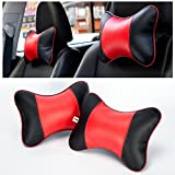 FMS Genuine Leather Car Neck Pillow, 2 PACK Headrest with Removable Cover (Black and Red)