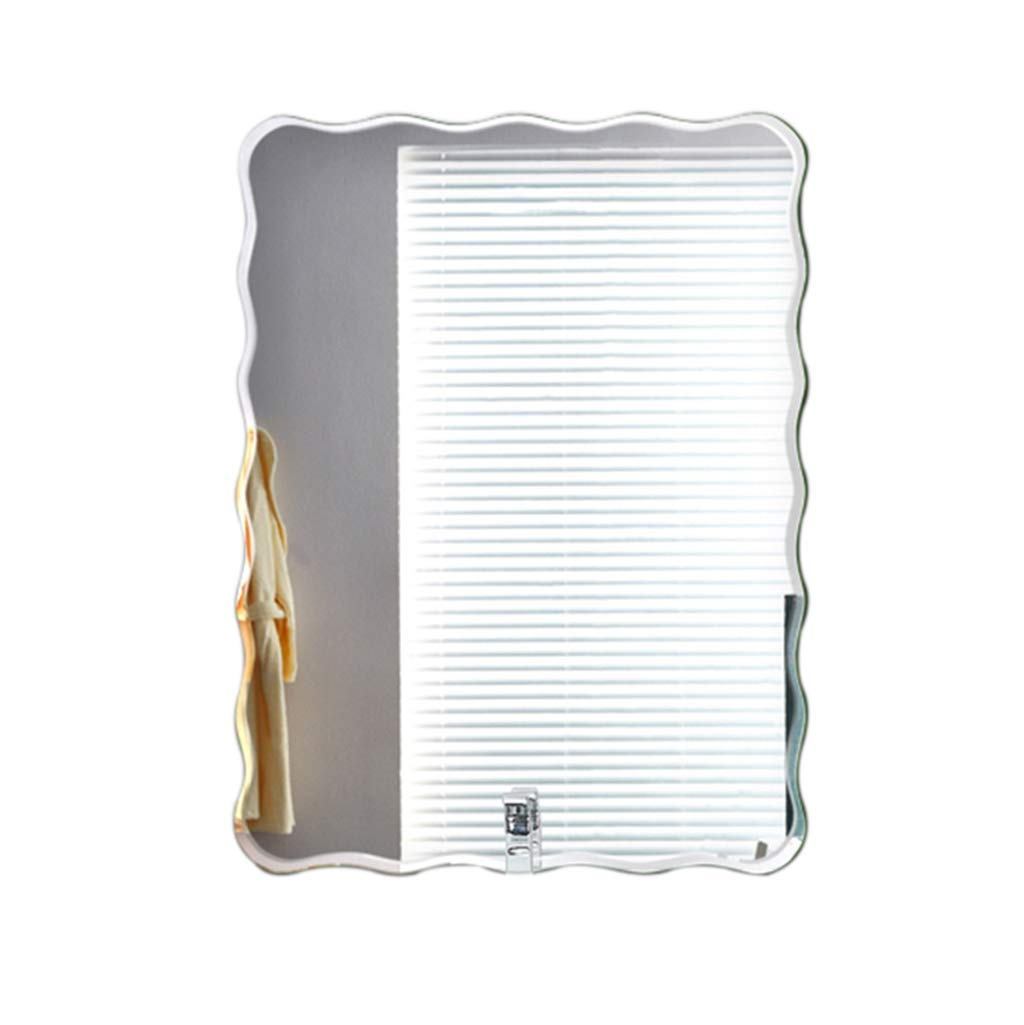 50x70cm Greawei@ Bathroom Wall Mounted Mirror, Frameless Creative Square Wave Edge Makeup Mirror - Simple Decorative Glass Wall Mirror Simple and Elegant (Size   50x70cm)