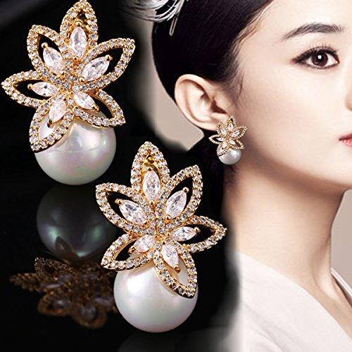 Opal Pearl Stud Earrings or Clip On Dangle Drop Earrings, Charm Jewelry Love Gift For Women Girls by SEKAYISORE (Image #3)