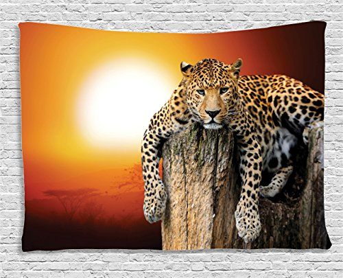 Ambesonne Safari Tapestry, Leopard Sitting on Dry Tree at Sunset Danger in The Air Big Cat with Spotted Form, Wide Wall Hanging for Bedroom Living Room Dorm, 60