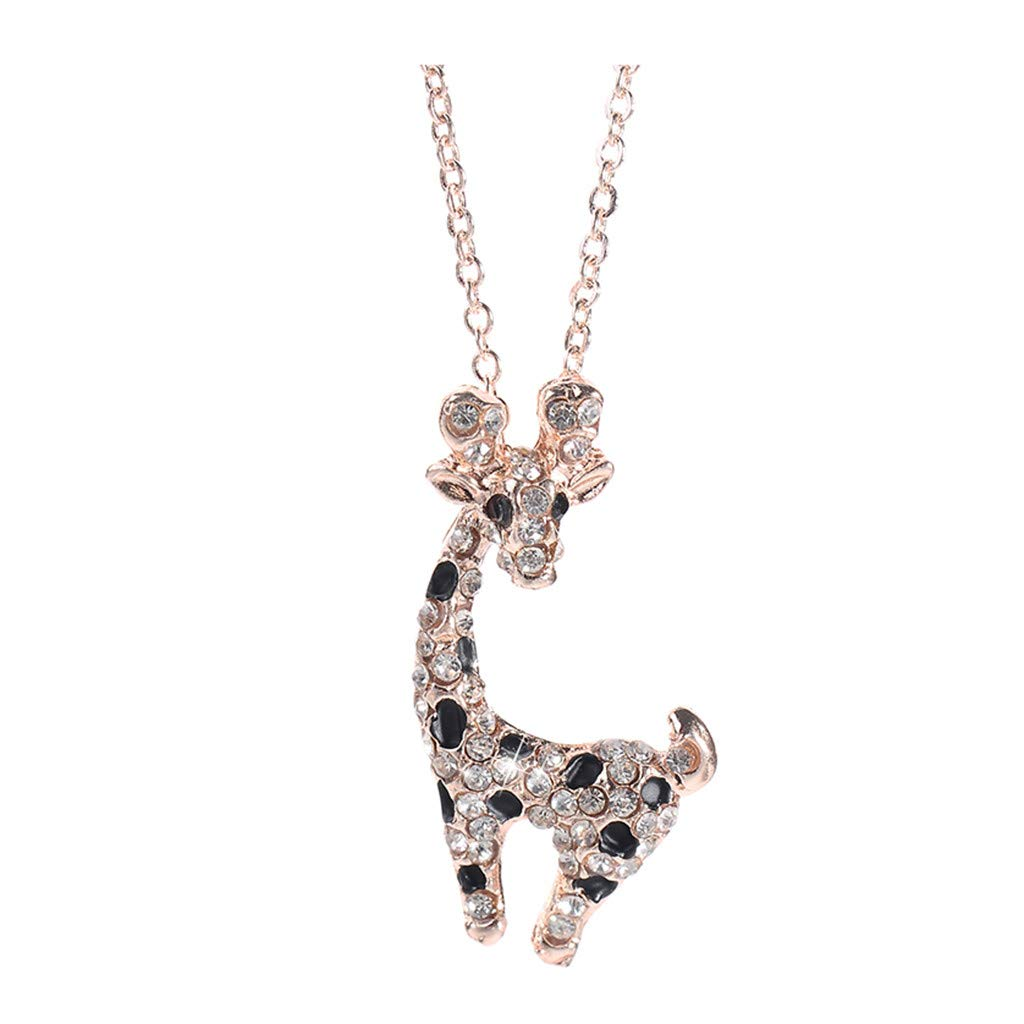 WaiiMak Hot Woman Sika Deer Sweater Chain Necklace Ladies Jewelry Animal Diamond Necklace (Rose Gold)