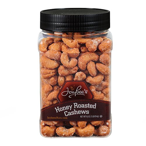 Honey Roasted Cashews (16 Oz) - Great for Holiday Gift Giving or As Everyday Snack - Certified Kosher by Jaybee's Nuts