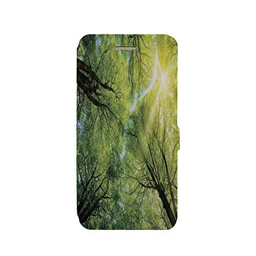 Phone case Compatible with iPhone 6 Plus/iPhone 6s Plus 3D Printed PU Skin Cover Protection Sleeve,Sun Through The Canopy of Tall Beech Trees Romatic,iPhone case Premium PU Leather Magnetic Flip - Canopy Sleeves
