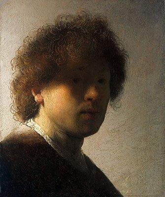 Rembrandt (Self Portrait as a Young Man, c.1628) Canvas Art Print Reproduction (8.9x7.3 in) (23x19 cm)