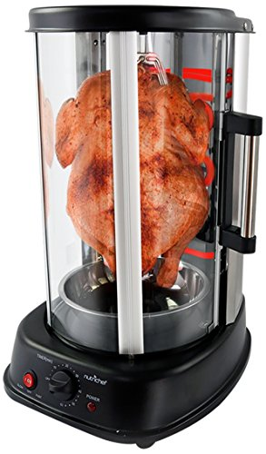 NutriChef Countertop Vertical Rotating Oven - Rotisserie Shawarma Machine, Kebob Machine, Stain Resistant & Energy Efficient W/Heat Resistant Door, Includes Kebob Rack with 7 Skewers
