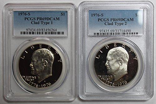 1976 S Eisenhower Ike Dollar $1 PR69DCAM PCGS Clad Type 1 & 2 1976 Eisenhower Dollar Type