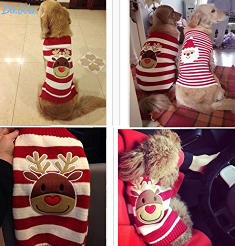- Topdo Pet Supplies Christmas Pet Clothes Elk Reindeer Striped Pet Sweater Knitwear Dog Pet Puppy Thermal Warm Jumper Knit Sweater Clothes Coat Costumes Small Medium Large Size M (Red and White)