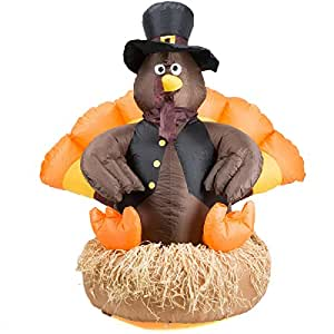 Thanksgiving inflatable 5 39 led pilgrim turkey for Airblown turkey decoration