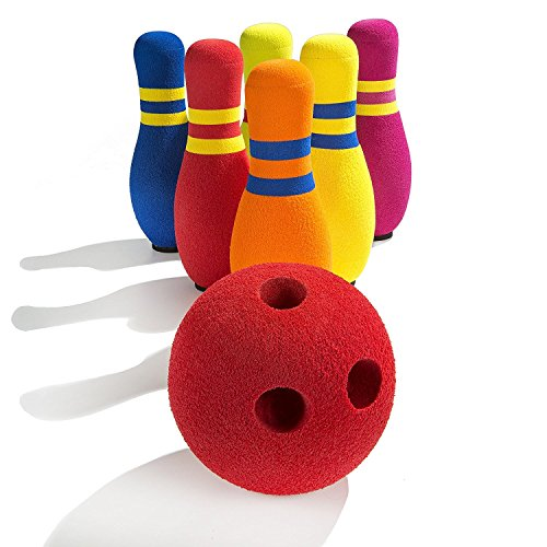 Pin Bowling Set with 1 Ball & 6 Pins in Various Bright