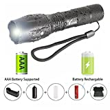 LED Flashlight,Trymie 5 Modes 900 Lumen LED Torch Ultra Bright Waterproof Flashlight Portable Waterproof Zoomable Adjustable Focus Flashlight with Rechargeable 18650 Lithium Ion Battery and Charger - Ideal for Outdoors, Home, Emergency, or Gift-Giving