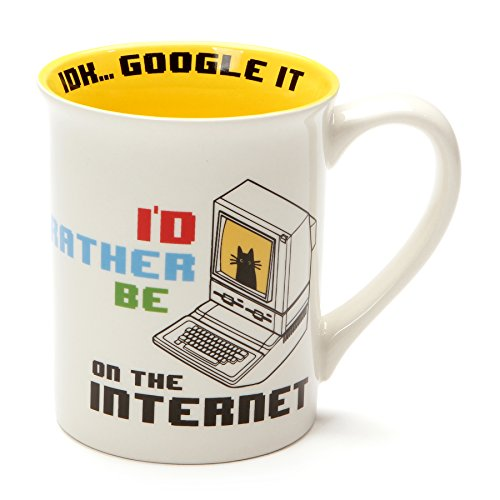 Enesco 6001242 Our Name Is Mud Rather Be on the Internet Stoneware Mug, 16 ounce, Multicolor (Mug Enesco)