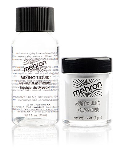 Mehron Makeup Metallic Powder .17 oz with Mixing Liquid 1fl oz -Silver ()