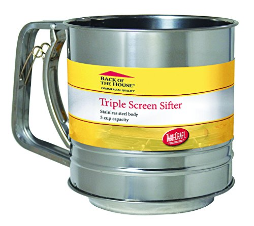 Tablecraft H2997BH 5 Cup Triple Screen Sifter