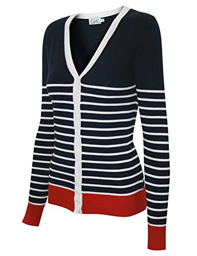 Classic Log Sleeve V-Neck Cardigan Sweater in Stripes (Small, SW775-C Navy/Ivory)