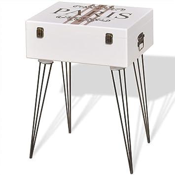 vidaXL Mueble Mesa Auxiliar Vintage de Color Blanco Dimensiones 40x30x57 cm