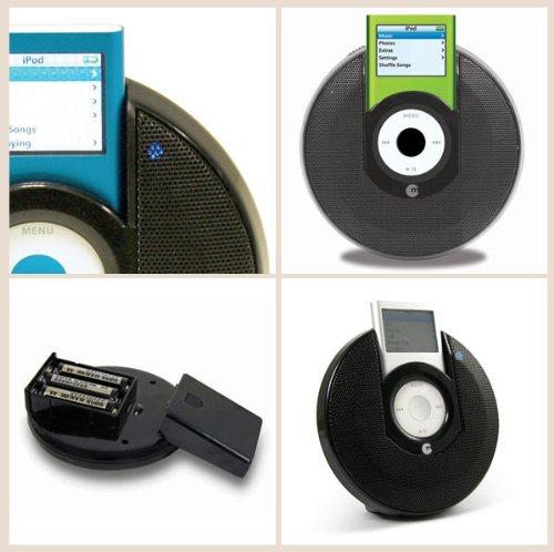 Macally Portable Stereo Speaker for iPod nano 2G (Black) - Ipod Shuffle Dock Speakers