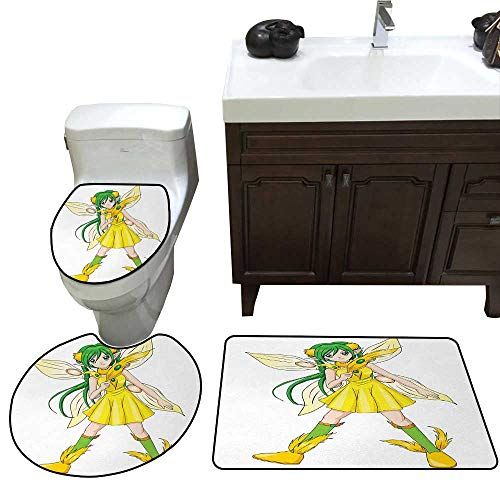 John Taylor Anime Bathroom Rug Set Fantasy Illustration of a Fairy Girl in a Yellow Dress Japanese Manga bathmat Toilet mat Set Yellow Lime Green Ivory