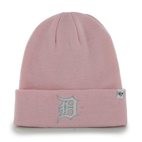 '47 Detroit Tigers Pink Cuff Beanie Hat - MLB Cuffed Winter Knit Toque Cap ()