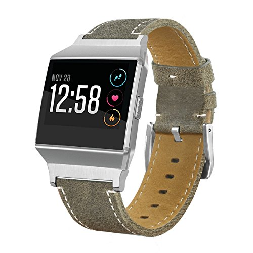 For Fitbit Ionic Bands, AISPORTS Fitbit Ionic Band Leather Band Smart Watch Adjustable Replacement Band with Metal Classic Bracelet Buckle Clasp for Fitbit Ionic Fitness Accessories - Grey by AnGolf