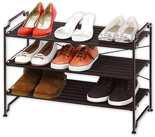 3-Tier Stackable Shoe Shelves Storage Utility Rack, Resin Slat (Slat Shelf)
