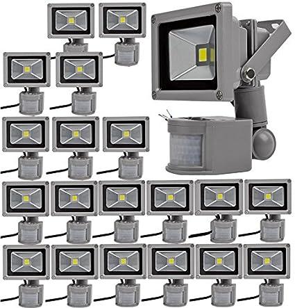 20pcs 10W Foco LED con Sensor Movimiento,ALPHA DIMA Foco Proyector con Iluminación LED y