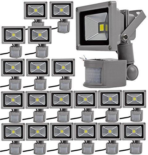 20pcs 10W Foco LED con Sensor Movimiento,ALPHA DIMA Foco Proyector con Iluminación LED y PIR Sensor de Movimiento(10 Watts,Blanco Frío),Resistente al Agua ...