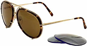 Porsche Design - P8613, Aviator, titanium, men, HAVANA GOLD/BROWN + BLUE SILVER MIRROR SECOND(B/V604), 61/14/135