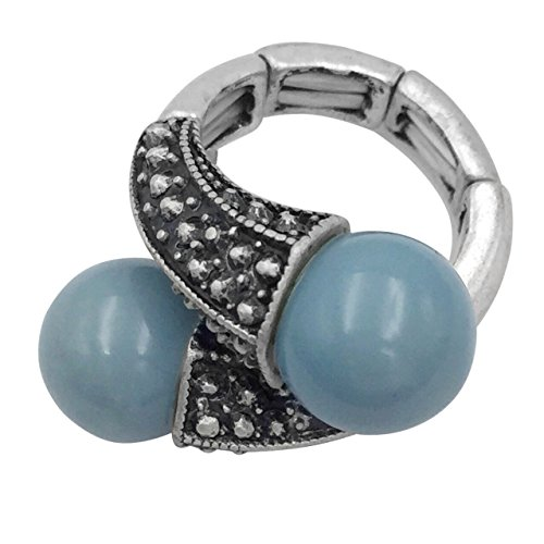 Large Abstract Statement Big Stretch Cocktail Ring (Imitation Blue Pearl Silver Tone Crossover) ()