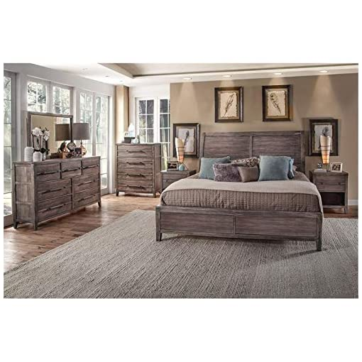 Bedroom Aurora Weathered Gray Queen Sleigh Bed farmhouse beds and bed frames