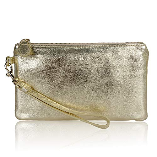 Befen Women Genuine Leather Chic Clutch Wallet Golden Evening Wristlet Purse for iPhone - Gold ()