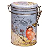 FRENCH GARDEN - JARDINIERE - Classic French Romantic Retro Vintage Style Coffee Tin / Tea Caddy / Kitchen Storage Tin/Canister - Clip Lid by Buzz