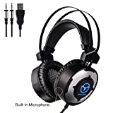 Procaja Stereo Gaming Headset for PS4 PC Xbox one, Stereo Sound Over Ear Headphones with Noise Reduction and LED Light for Laptop Tablet Mac iPad - Built-in Microphone